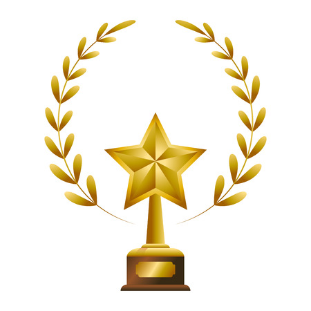 Gold Trophy with Laurel Wheat, over white background  イラスト・ベクター素材