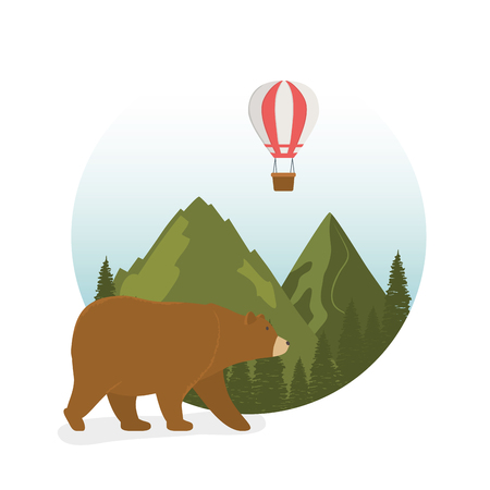 wanderlust label with landscape and bear grizzly scene vector illustration design Ilustração