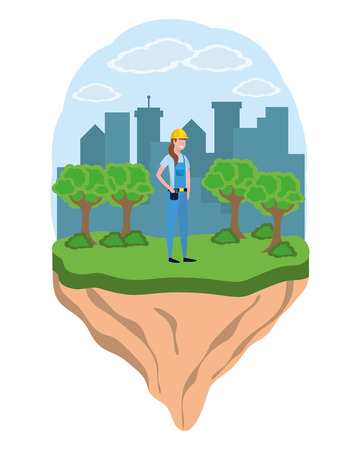 labor day job career construction architectural worker woman at city park cartoon vector illustration graphic design