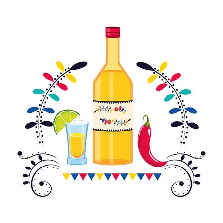 mexican culture festival tequila bottle cartoon vector illustration graphic design