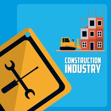 Construction industry with roadsign symbol vector illustration graphic design Stock Illustratie