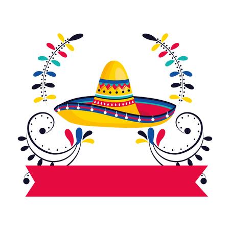 mexican culture festival mexico mariachi hat ribbon banner cartoon vector illustration graphic design Stockfoto - 122906246