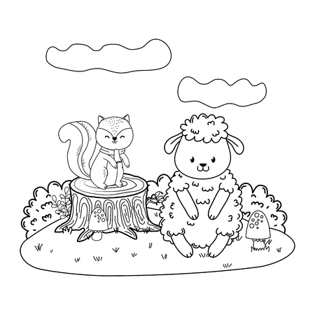 cute chipmunk and sheep in the field woodland characters vector illustration design