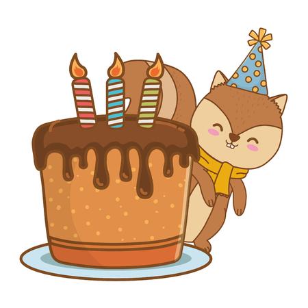cute little animal squirrel at birthday party festive scene cartoon vector illustration graphic design