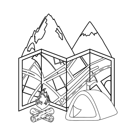 camping tent with mountains and campfire vector illustration design