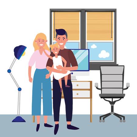 couple with child avatar cartoon character indoor studio office vector illustration graphic design Vettoriali