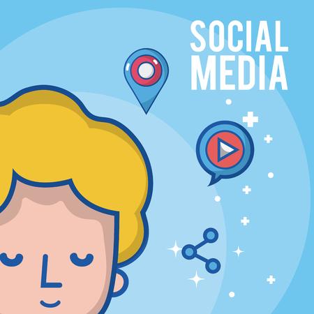 Boy with social media and network symbols cartoons vector illustration graphic design Vetores