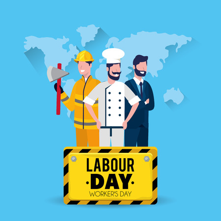 firefighter with baker and businessman with labour day emblem vector illustration