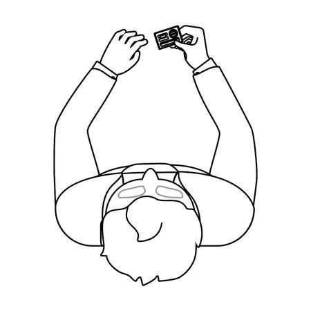human man upper view holding saving money bank credit debit card cartoon vector illustration graphic design