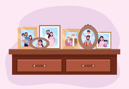 propait with family pictures memories in the dresser vector illustration Ilustrace