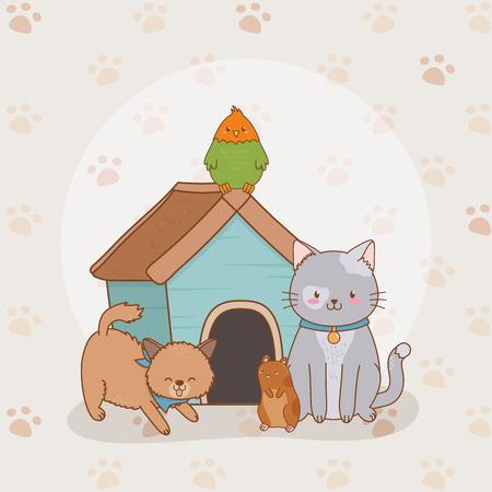 Grupo de pequeños personajes de mascotas, diseño de ilustraciones vectoriales Ilustración de vector