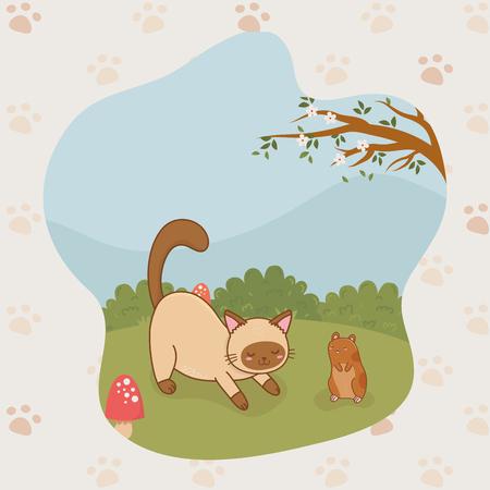 cute little kitty and guinea pig mascots vector illustration design Illustration