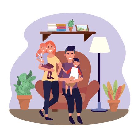 woman and man with their daughter and son in the chair vector illustration