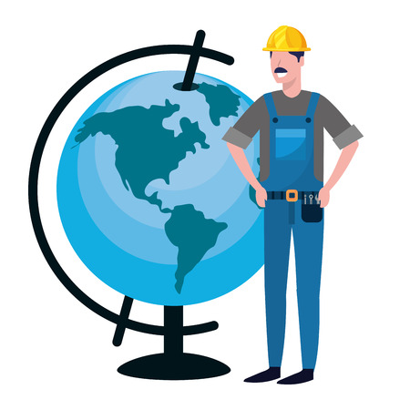 labor day job career construction architectural worker man with world map cartoon vector illustration graphic design