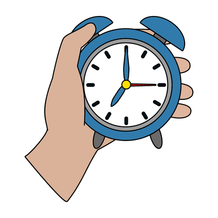 human hand holding clock cartoon vector illustration graphic design