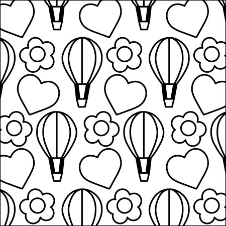 line air balloon with heart and flower background vector illustration