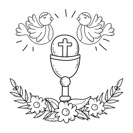 sacred chalice religious with doves birds vector illustration design