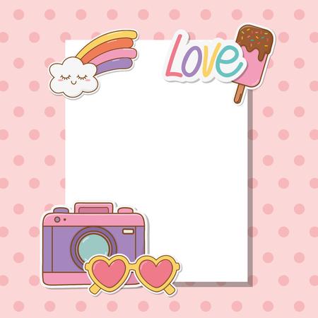 postcard with stickers kawaii vector illustration design