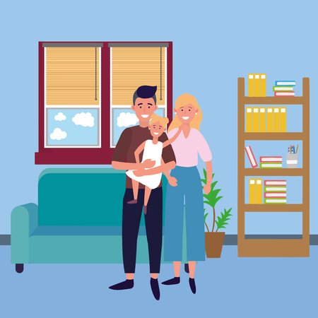 couple with child avatar cartoon character indoor in the house vector illustration graphic design
