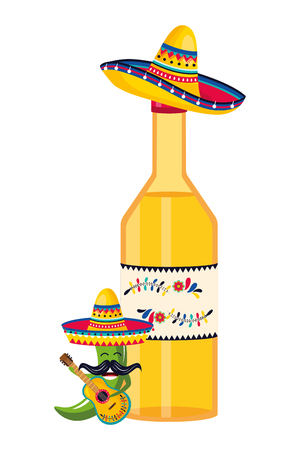 mexican culture festival mexico mariachi elements cartoon vector illustration graphic design