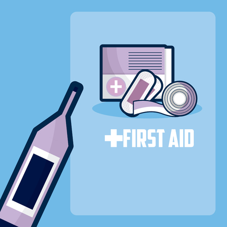 First aid with bandages and glucometer vector illustration graphic design