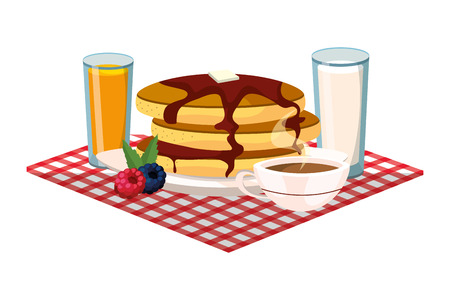 delicious tasty breakfast over picnic tablecloth cartoon vector illustration graphic design