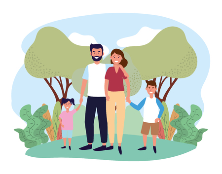 woman and man couple with their son and daughter vector illustration