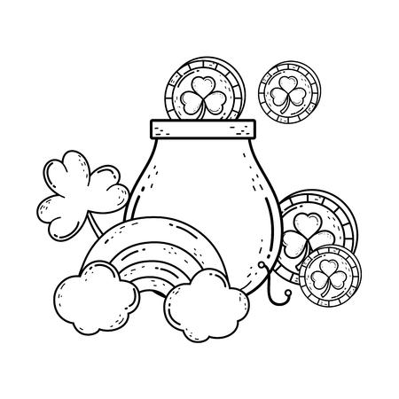 treasure cauldron with rainbow saint patrick day vector illustration design