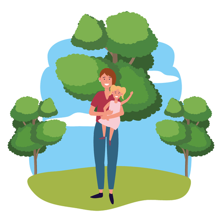 woman with child avatar cartoon character outdoor in the park vector illustration graphic design Ilustração