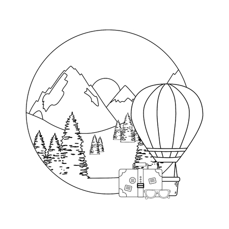 balloon air hot flying with pines and suitcase vector illustration design