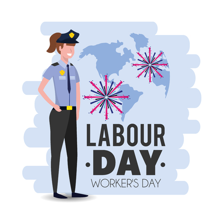 policewoman with uniform to labour day holiday vector illustration Stock Illustratie