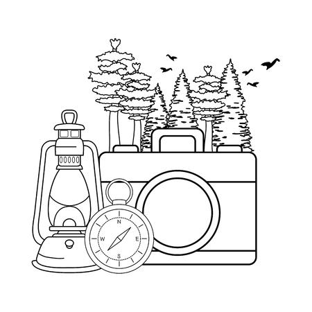 compass guide with camera and kerosene lamp vector illustration design Illustration