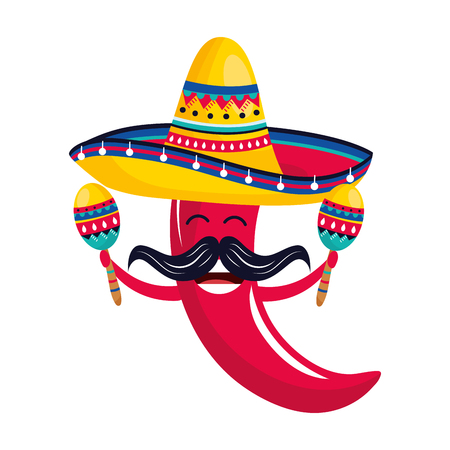 mexican culture festival pepper with mariachi mexico elements cartoon vector illustration graphic design Ilustracja