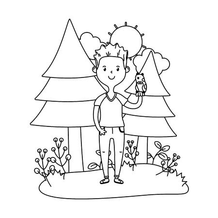 childhood happy child boy with little animal pet at outdoor scene cartoon vector illustration graphic design