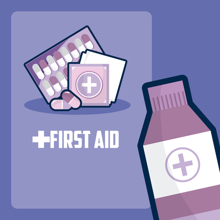 First aid with bottle and pills tablet vector illustration graphic design
