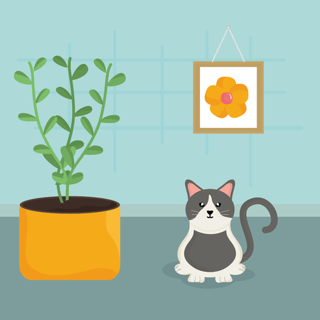 Cute little cat mascota en la casa, diseño de ilustraciones vectoriales Ilustración de vector