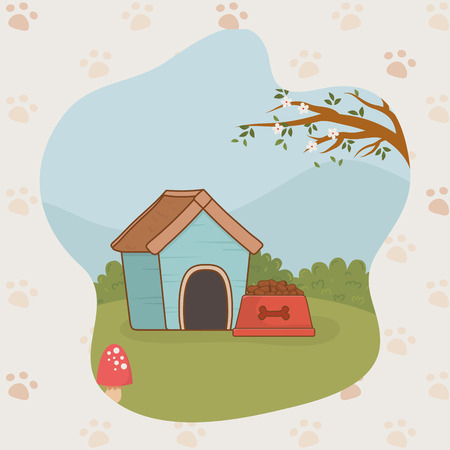 mascot wooden house with dish food vector illustration design