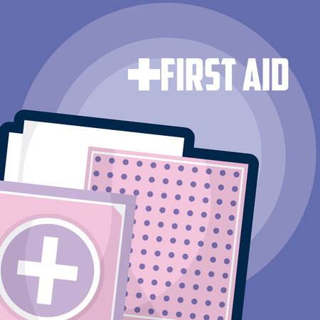 First aid suitcase and bandages vector illustration graphic design