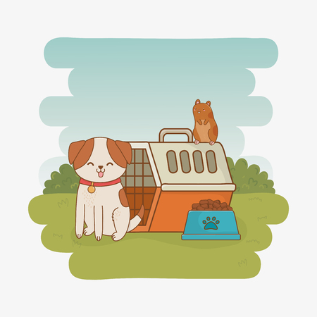 cute little doggy and guinea pig mascots Illustration