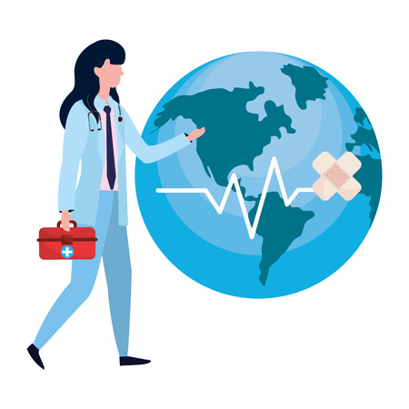 healthcare medical doctor woman holding first aid box with world map cartoon vector illustration graphic design