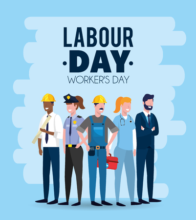professional employers to celebrate labour day vector illustration Иллюстрация