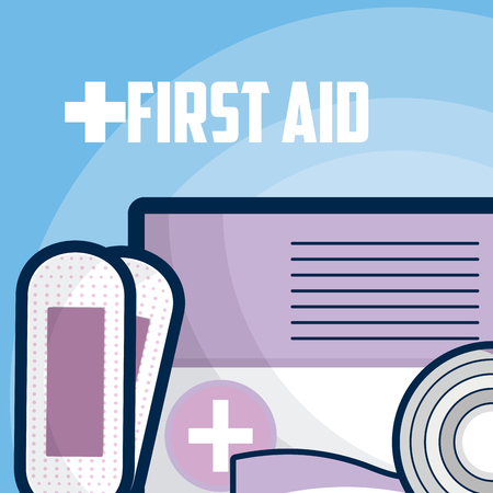 First aid bandage roll and documents vector illustration graphic design Ilustrace