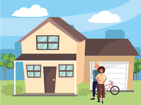 pregnant happy family couple at house home cartoon vector illustration graphic design