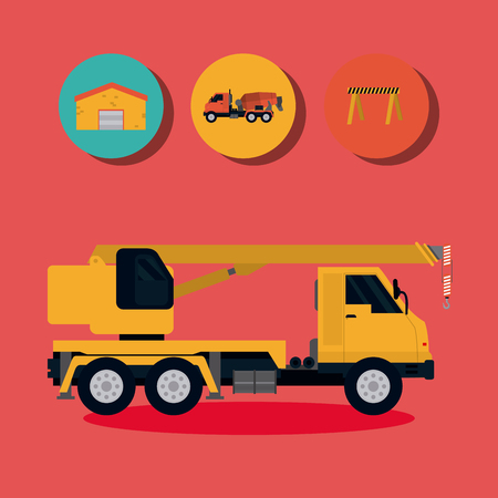 Construction element and round icons vector illustration graphic design
