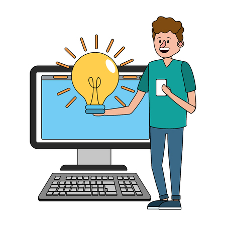 online education man with computer cartoon vector illustration graphic design