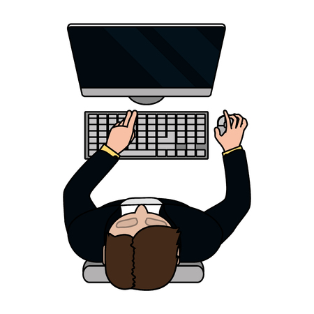 technology device computer with man cartoon vector illustration graphic design