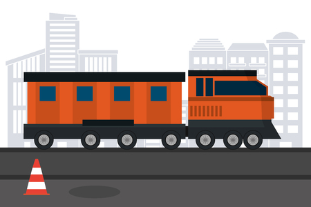 transportation concept train in front city landscape cartoon vector illustration graphic design  イラスト・ベクター素材