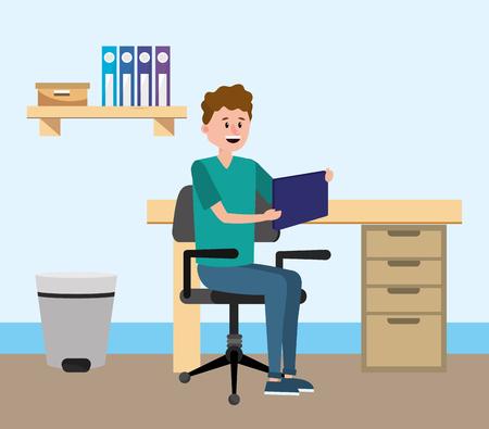 online education man using tablet device at desk cartoon vector illustration graphic design