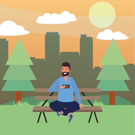 Millennial sitting on park bench using smartphone browsing social media taking selfie cityscape background bearded vector illustration graphic design Stock Illustratie