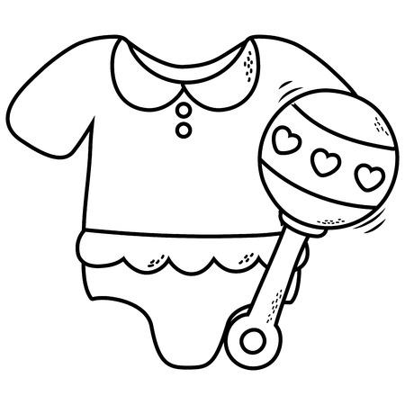 Diseño gráfico lindo del ejemplo del vector de la historieta de los elementos de la ducha del bebé